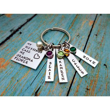 My Blessings Call Me Grandma, Name Tag Keychains, Swarovski Birthstones, Perfect Gift from the kids