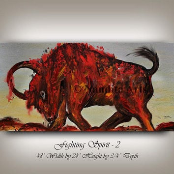 "Animal Bull Painting 48"" Abstract Painting on canvas, Original & Hand Made Oil painting , Fighting Spirit Bull Modern Art, Large Artwork"