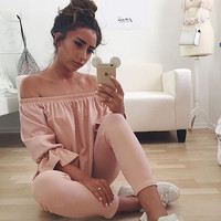 Long Sleeve Cotton Blouse Off Shoulder Tops  Shirts Blouse Fashion Women Ladies Clothes Loose Pullover Tops