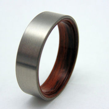 Titanium and wood ring  bentwood Rosewood liner and satin titanium wedding band