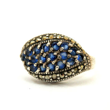 Sterling Ring Pave Set Sapphires and Marcasite September Birthstone