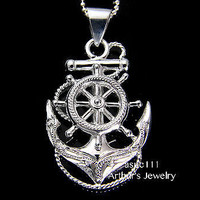 STERLING SILVER  925 HAWAIIAN SCROLL ANCHOR OF HOPE SHIP WHEEL PENDANT