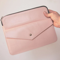 Leather Ipad Case, Ipad Air Case, Ipad Mini Case, Leather Envelope Clutch, Pink Ipad Case, E-reader Case, Pastel Colors, Spring