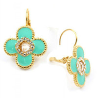 Pree Brulee - Mint Enamel Flower Earrings