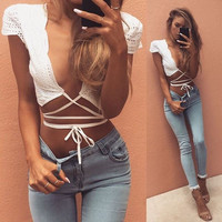White Cut-Out Drawstring Top