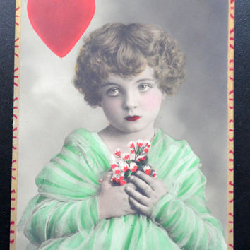 Valentine's French Postcard Charite' Child Model Charity Hand Tinted RPPC