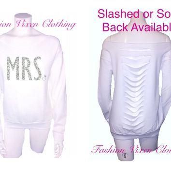Silver Glitter Mrs. Off the Shoulder White Sweatshirt (solid or slashed back available) XS S M L XL and Plus Size 1x 2x 3x 4x 5x