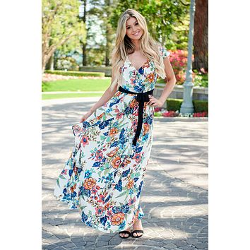 With You In Mind Floral Maxi Dress (Ivory)