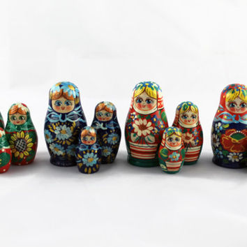 Lot of 4 Matryoshka Russian Nesting Doll Nested Wooden Babushka Beautiful Set 3 Pieces Pcs Hand Painted Handmade Souvenir Handicraft