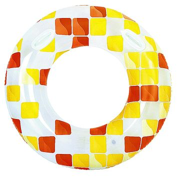 """47"""" Yellow and Orange Fashion Mosaic Inflatable Swimming Pool Inner Tube Ring Float with Handles"""