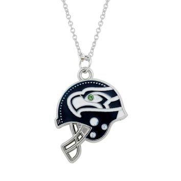 Seattle Seahawks Helmet Charm Pendant Necklace Alloy Enamel Slide Charms Necklace With Stainless steel 10PCS