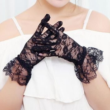 BONJEAN 2017 New Elegant women lace gloves evening party Accessories Hollow-Out Fishnet floral sheer lace Gloves Jacquard design