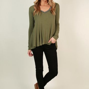 Free Spirited Cut Out Top in Sage