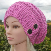 Knit Hat Womens Hat Slouchy Hat in Pink -Beanie Hat-Womens Accessories