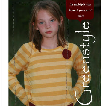 Regan Dress or Shirt PDF Sewing Pattern Sizes 5 - 14 Years with Short or Long Sleeves Great for Tweens