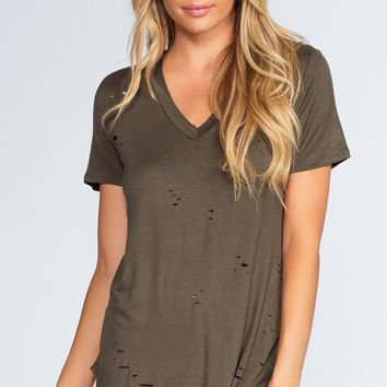 Alli Distressed Tee - Olive