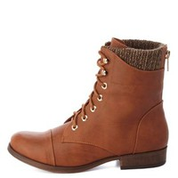 Sweater-Lined Lace-Up Combat Boots by Charlotte Russe - Cognac