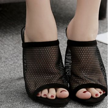 New sexy high-heeled shoes with fish-mouth gauze shoes