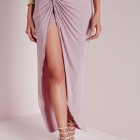 Missguided - Knot Detail Maxi Skirt Mauve