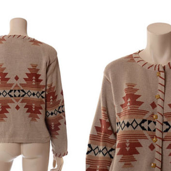 Vintage 60s 70s Southwestern Indian Blanket Cardigan Sweater 1960s 1970s Tribal Aztec Hippie Boho Jacket / Medium / Large