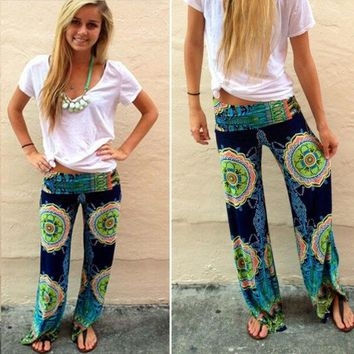 New Women Casual Boho Floral Harem Yoga Running Loose Long Pants Trousers