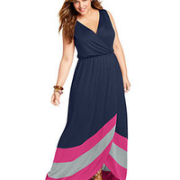 Soprano Plus Size Dress, Sleeveless Colorblocked Maxi - Junior Plus Size - Plus Sizes - Macy's