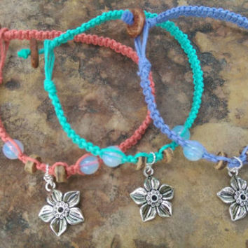 Teen Friendship Anklets, Hemp Anklets, Stackable, Flower Charms, Gift for Friends, Friendship Jewelry, Gift, Hemp Jewelry, Flowers