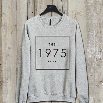 the 1975 logo parody Music tee Ash Grey  Long Sleeve Crew Neck Pullover Sweatshirt