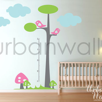 Vinyl Wall Sticker Decal Art - Height Chart Tree