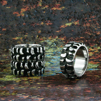 Tire Tread Ring Band, Black Silver Plated, Silver, Mud Bogger, Super Swamper, Monster & Badass Ring, BN014A