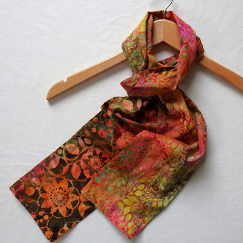 "Colorful Autumn Scarves, Boho Chic Reversible Scarf, 5"" Wide 68"" Long, Fall Floral Batik Scarf, Unique Handmade Scarves, Lightweight  Scarf"