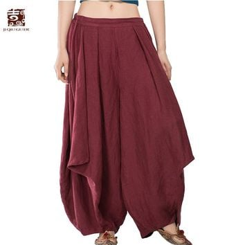 Jiqiuguer Original Women Linen Harem Pants Vintage Plus Size Elastic Waist Full Length Loose Thicken Pant Lady Trousers G143K001