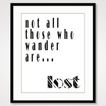 motivational wall decor inspirational quote poster not all who wander are lost typographic print black and white modern art positive energy