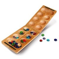 Mancala African Stone Folding Travel Game 17L - 8495