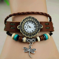Vintage Style Leather Belt Flower Dial Watch with Dragonfly Pendant