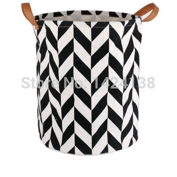 white and black pattern fabric laundry basket with PU handles storage basket 100% cotton very popular in Korea and Europe
