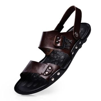 Men's Sandals Slippers Genuine Leather Cowhide Sandals Outdoor Casual Men Leather Sand