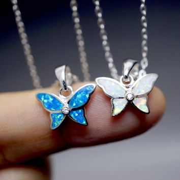 Tiny Opal Neckalce - full Sterling Silver Butterfly Necklace - Fire Opal Pendant - Children Jewelry- Bridesmaid Gift 1 Pc Synthetic Opal