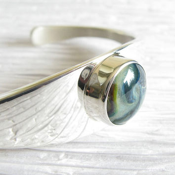 Memorial Cremation sterling silver cuff bracelet.  Glass with ashes of your loved one or pet. Solid heavy quality artisan jewelry keepsake.