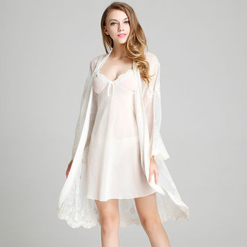 Butterfly Dress Summer Sexy Permeable Stylish Sleepwear Gowns Chiffon Home Bottom & Top [6048747457]