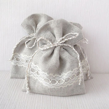 Set of 10 linen drawstring bags with ivory lace Eco friendly linen light grey small fabric gift pouches