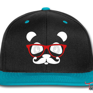 nerd panda with moustache and glasses Snapback