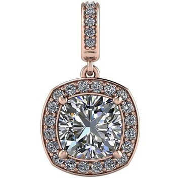 Cushion Moissanite 4 Prong Diamond Halo and Bail Pendant