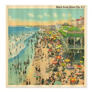 Ocean City Beach NJ Postcard Shower Curtain Coastal Vintage An