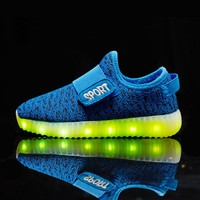 JACKSHIBO Kids Luminous Shoes LED Shoes for kids Sneaker With Light Glowing Sneakers Cool Flash Children Christmas Lighted Shoes