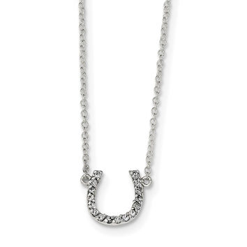 Sterling Silver Polished CZ Horseshoe w/ 1 inch ext Necklace QG4003