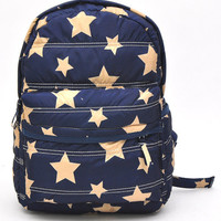 Cotton Padded Backpack with Star Print