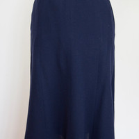 Vintage Womens Jean Muir London Navy Blue Wool A line Skirt Calf Length UK 10