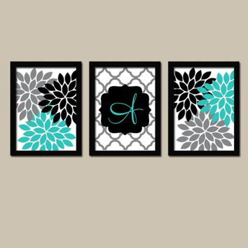 Turquoise Black Wall Art, Girl Monogram Flower Decor, Family Initial Wedding Gift Decor, Bedroom Pictures, CANVAS or Prints, Set of 3