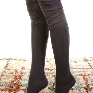 Knee High Boot Socks Charcoal